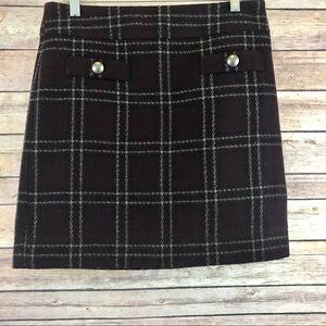 Ann Taylor LOFT Wool Plaid Mini Skirt- Size 4